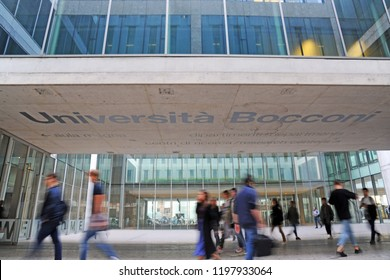 Milan, Italy october 8,2018 - the headquarters of the prestigious Bocconi University in Milan that attracts students from all over the world