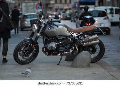 MILAN, ITALY - OCTOBER 9 , 2017: Big motorcycle parked in the city