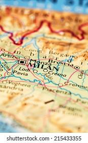 Milan, Italy on atlas world map