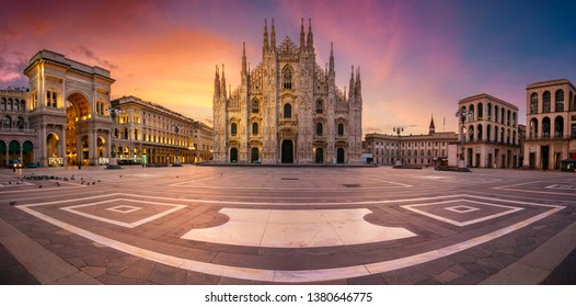 Milan, Italy. Panoramic cityscape image of Milan, Italy with Milan Cathedral during sunrise.