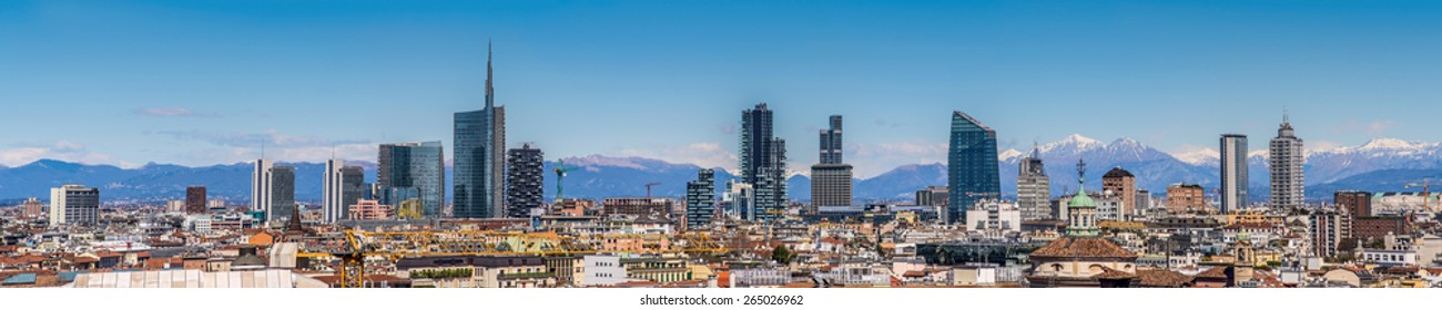 Milan Italy - panoramic view of new skyline