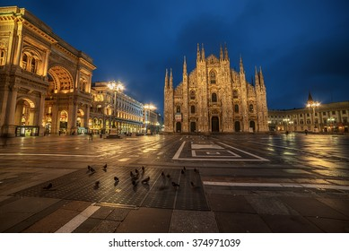 Milan, Italy: Piazza del Duomo, Cathedral Square in the sunrise