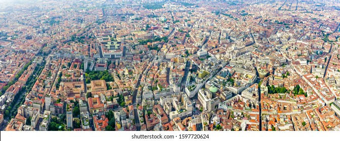 Milan, Italy. Roofs of the city aerial view. Cloudy weather, Aerial View