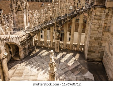 Milan, Italy - Sep 11, 2018: Milan cathedral church (Milano Duomo) internal yard.