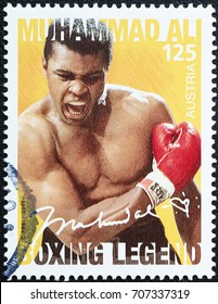 Milan, Italy - September 1, 2017: Portrait of Muhammad Ali on postage stamp