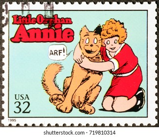 Milan, Italy - September 1, 2017: Cartoon Little Orphan Annie on american postage stamp