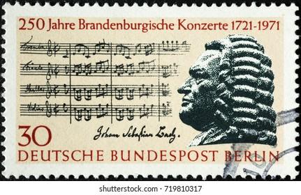 Milan, Italy - September 1, 2017: Johann Sebastian Bach on german postage stamp