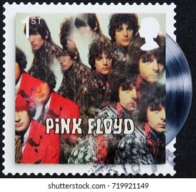 Milan, Italy - September 1, 2017: Cover of early record by Pink Floyd on stamp