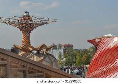 MILAN, ITALY - SEPTEMBER 10, 2015: Albero della Vita meaning Tree of Life at Italy pavilion at the Expo 2015 Feeding The Planet Energy For Life international exposition