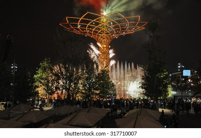 MILAN, ITALY - SEPTEMBER 10, 2015: Night view of Albero della Vita meaning Tree of Life at Italy pavilion at the Expo 2015 Feeding The Planet Energy For Life international exposition