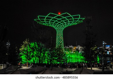 MILAN, ITALY - SEPTEMBER 10, 2015: High_dynamic_range (HDR) Night view of Albero della Vita meaning Tree of Life