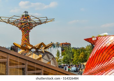 MILAN, ITALY - SEPTEMBER 10, 2015: High dynamic range (HDR) Albero della Vita meaning Tree of Life at Italy pavilion at the Expo 2015 Feeding The Planet Energy For Life international exposition