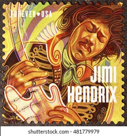 Milan, Italy - September 11, 2016: Jimi Hendrix on american postage stamp