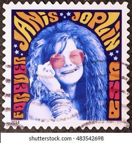 Milan, Italy - September 11, 2016: Janis Joplin on american postage stamp