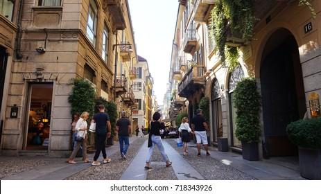 MILAN, ITALY - SEPTEMBER 12, 2017: Typical street in neighborhood Brera in Milan, Italy