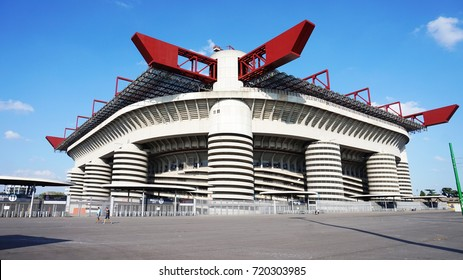 MILAN, ITALY - SEPTEMBER 13, 2017: Stadio Giuseppe Meazza commonly known as San Siro, is a football stadium in the San Siro district of Milan, Italy, which is the home of A.C. Milan and Inter Milan
