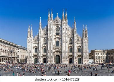 MILAN, ITALY - SEPTEMBER 13: Milan Gothic cathedral (Duomo di Milano) on September 13, 2014 in Milan, Italy. Duomo cathedral is the 5th-largest church in the world and the second largest in Italy.