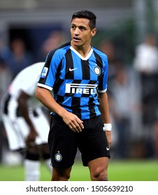 MILAN, ITALY - September 14, 2019:  Alexis Sanchez looks on during the Serie A 2019/2020 INTER v UDINESE at San Siro Stadium.