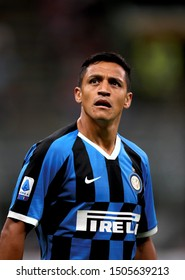 MILAN, ITALY - September 14, 2019:  Alexis Sanchez reacts during the Serie A 2019/2020 INTER v UDINESE at San Siro Stadium.