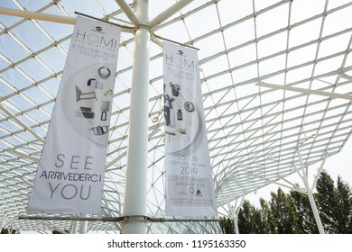 MILAN, ITALY - SEPTEMBER 14: Banner at HOMI, home international show and point of reference for all those in the sector of interior design on SEPTEMBER 14, 2018 in Milan.