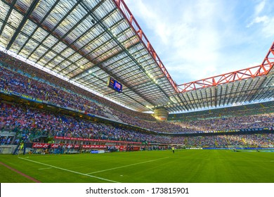 MILAN, ITALY - SEPTEMBER 14: San Siro soccer stadium full of 80.000 fans before the Serie A match Inter vs Juventus in Milan September, 14 2013.