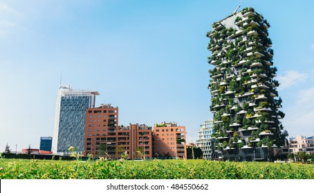 """MILAN, ITALY - SEPTEMBER 15 2016: """"Bosco Verticale"""" (""""Vertical Forest"""") is a pair of two residential towers in Milan (Porta Nuova district); they host hundreds of trees and plants in the balconies"""