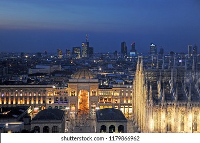 Milan - Italy september 15, 2108 - Duomo cathedral, Vittorio manuele gallery and skyline - down town and interesting places to visit for the tourist during the night