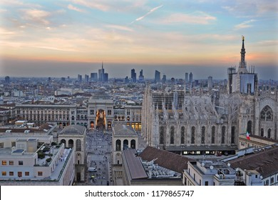 Milan Italy september 15,2018  - Galleria Vittorio Emanuele and Skyline - Duomo cathedral and downtown during the sunset , interesting places to visit for the tourist