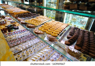 MILAN, ITALY - SEPTEMBER 17: cakes exposed at the historical Taveggia cafeteria , September 17, 2008 in Milan, Italy.