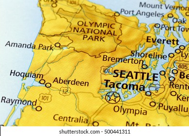 Milan, Italy - September 18, 2015: Seattle area on a map