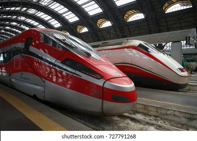 MILAN, ITALY - SEPTEMBER 18, 2017: Two modern high-speed trains on the central railway station of Milan