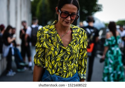MILAN, Italy- September 18 2019: Michela Meni on the street during the Milan Fashion Week.