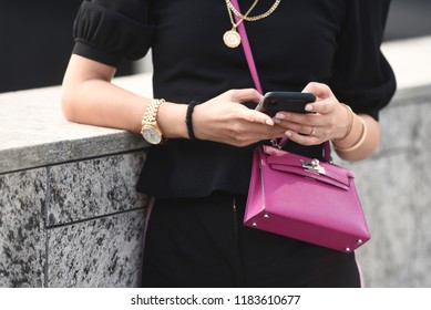Milan, Italy - September 19, 2018: Street style outfits before ALBERTA FERRETTI fashion show during Milan Fashion Week - MFWSS19