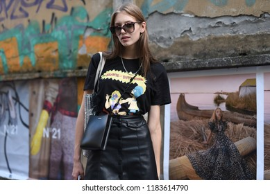Milan, Italy - September 19, 2018: Street style outfits before JIL SANDER fashion show during Milan Fashion Week - MFWSS19