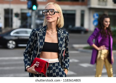 Milan, Italy - September 19, 2018: Street style outfits before ALBERTA FERRETTI fashion show during Milan Fashion Week - Gucci outfit - MFWSS19