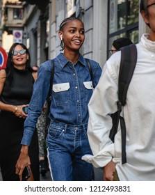 MILAN, Italy- September 19 2018: Blesnya Minher on the street during the Milan Fashion Week.