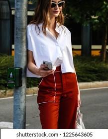 MILAN, Italy- September 19 2018: Model Grace Elizabeth on the street during the Milan Fashion Week.