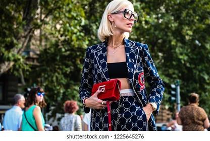 MILAN, Italy- September 19 2018: Viktoria Rader on the street during the Milan Fashion Week.