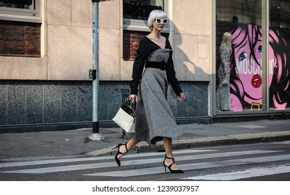 MILAN, Italy- September 20 2018: Samantha Angelo on the street during the Milan Fashion Week.