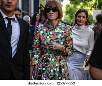 MILAN, Italy- September 20 2018: Anna Wintour on the street during the Milan Fashion Week.