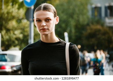 MILAN, ITALY - SEPTEMBER 20, 2018: Cara Taylor after MAX MARA fashion show at Milan Fashion Week Spring/Summer 2019.