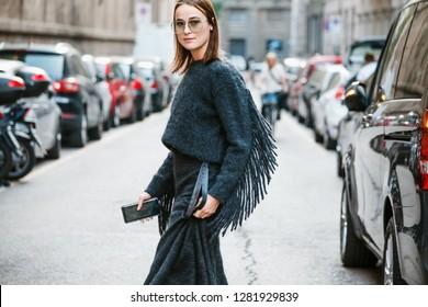 MILAN, ITALY - SEPTEMBER 20, 2018: Lena Lademann before MAX MARA fashion show at Milan Fashion Week Spring/Summer 2019.