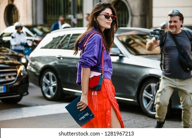 MILAN, ITALY - SEPTEMBER 20, 2018: A guest before FENDI fashion show at Milan Fashion Week Spring/Summer 2019.
