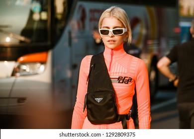 MILAN, ITALY - SEPTEMBER 20, 2018: Caro Daur before PRADA fashion show at Milan Fashion Week Spring/Summer 2019.