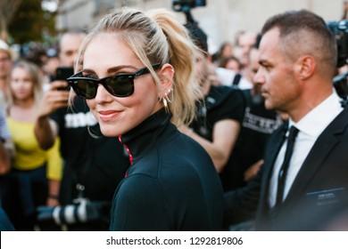 MILAN, ITALY - SEPTEMBER 20, 2018: Chiara Ferragni after PRADA fashion show at Milan Fashion Week Spring/Summer 2019.