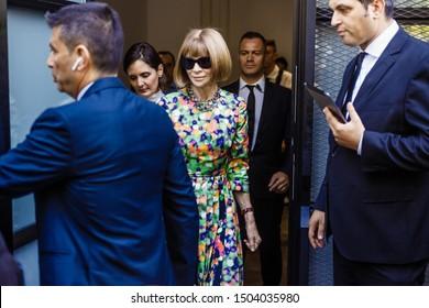 MILAN, ITALY - SEPTEMBER 20, 2018: Anna Wintour after FENDI show during Milan Fashion Week Spring/Summer 2019.