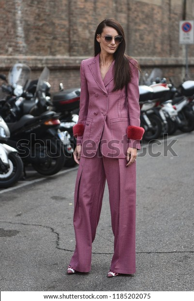 Milan, Italy - September 20, 2018: Street style outfits before Max Mara fashion show during Milan Fashion Week - MFWSS19