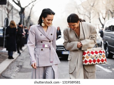 Milan, Italy - September 20, 2019: Street style outfits during Milan Fashion Week - - MFW19/20