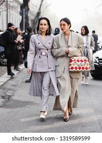 Milan, Italy - September 20, 2019: Street style outfits during Milan Fashion Week - - MFW19/20