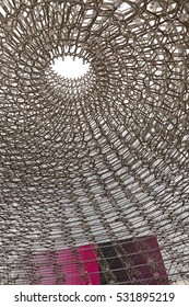 MILAN, ITALY - September 2015: United Kingdom pavilion at Expo 2015. The theme of the Universal Exposition is Feeding the Planet, Energy for Life. Designed by Artist Wolfgang Buttress